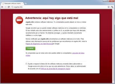 Vista de la advertencia de peligro de Google Chrome
