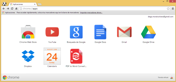 Vista de como se ven las aplicaciones de cuenta de Google Chrome.