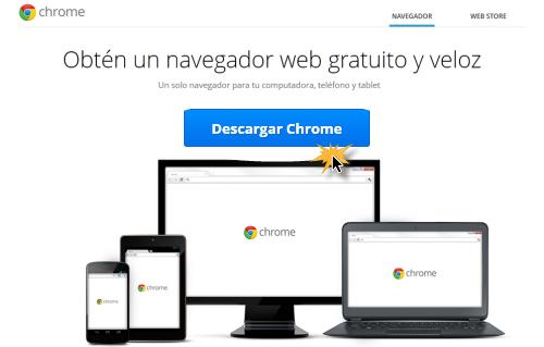 Vista de la página y botón para descargar Google Chrome.