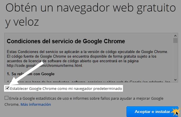 Vista de la caja de diálogo de las Condiciones del servicio de Google Chrome.