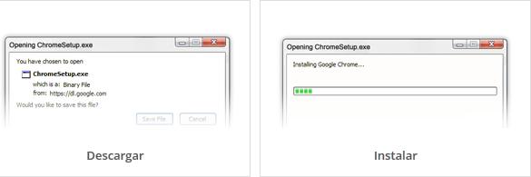 Vista de las posibles ventanas del instalador de Google Chrome.