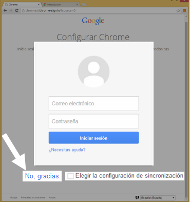 Vista de la página de registro de Chrome.