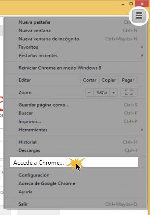 Vista de la opción Accede a Chrome en el menú desplegable de configuración.