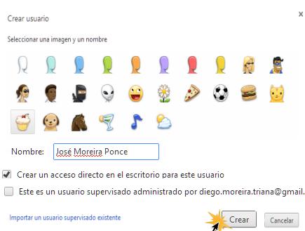 Vista de la ventana de configuración de la nueva sesión en Google Chrome.
