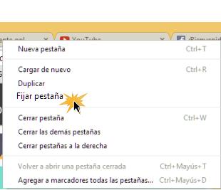 Vista del proceso de como fijar una pestaña en Google Chrome.