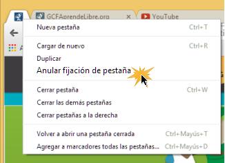 Vista del procedimiento para quitar una pestaña fija en Google Chrome.