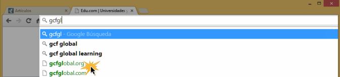 Vista de cómo usar la barra de direcciones de Google Chrome.
