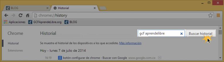 Vista de cómo se hace una búsqueda en el historial de navegación de Google Chrome.