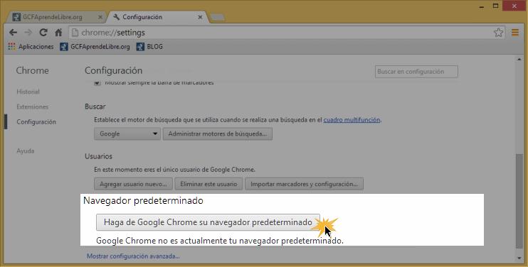 Vista de la opción Haga de Google Chrome su navegador predeterminado.