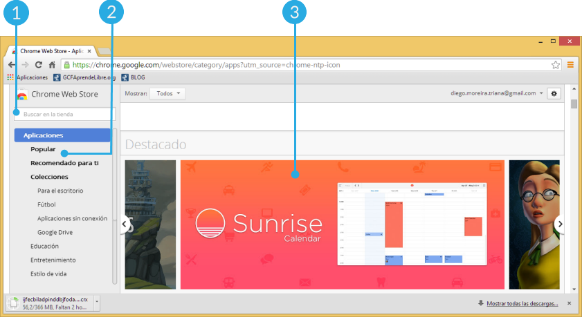 Vista de la interfaz de la Tienda Virtual de Chrome o Chrome Web Store.