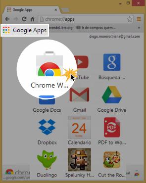 Vista del botón Google Apps y el acceso a la Tienda Virtual de Google