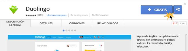 Vista de botón +Gratis para instalar aplicación en Google Chrome.