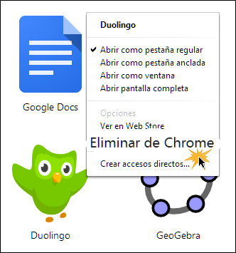 Vista de la opción Eliminar de Chrome.
