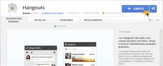 Vista del botón +Gratis para istalar una extensión a tu navegador.