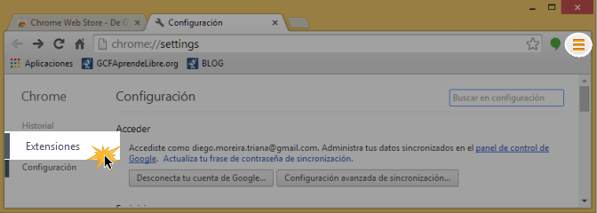 Vista de la opción extensiones en el panel de configuración.