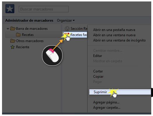 Imagen de cómo suprimir marcadores en Google Chrome.