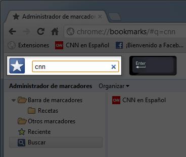 imagen ejemplo de cómo buscar marcadores en Google Chrome.