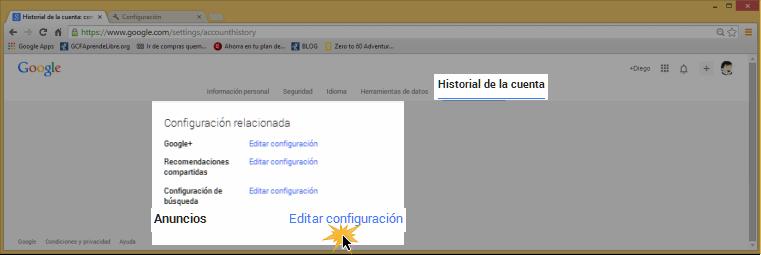 Vista de la opción Anuncios Editar configuración.