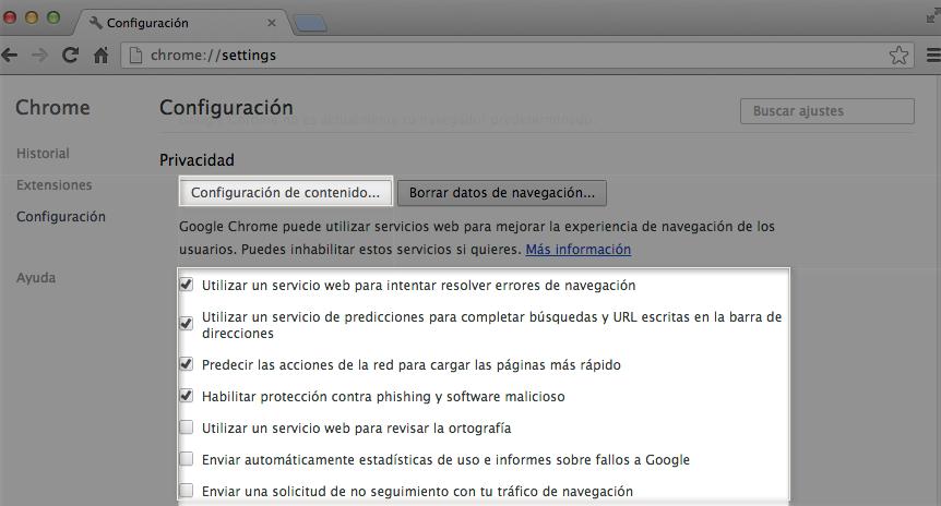 Imagen ejemplo de las opciones de Privacidad en Google Chrome.