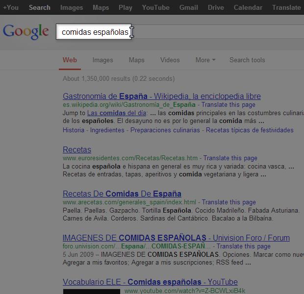 Resultados de búsqueda inicial.