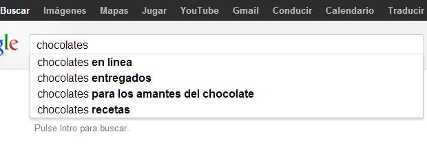 Opciones de búsqueda del buscador.