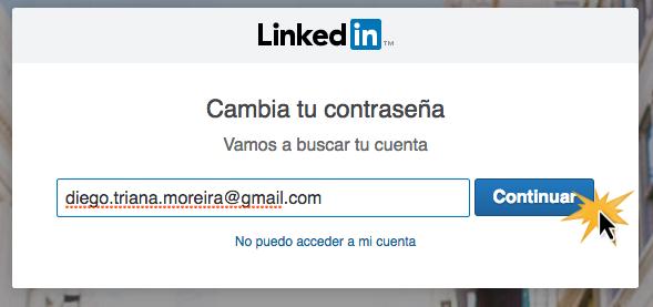 Escribe la dirección de correo electrónico que usaste para registrarte en LinkedIn