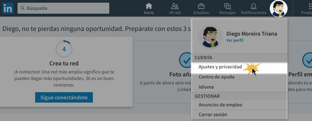 Haz clic en el botón Yo y allí selecciona Ajustes y privacidad.