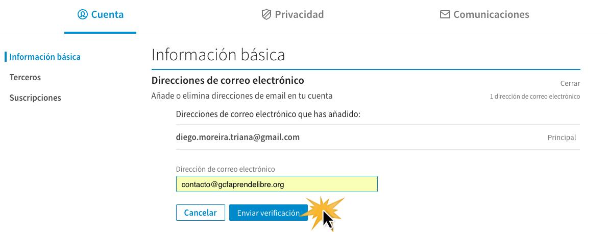Escribe la nueva dirección de correo electrónico en el campo y haz clic en Enviar verificación.