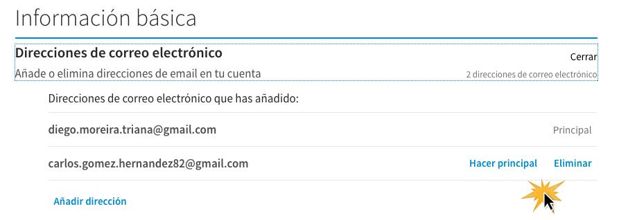 Haz clic en Hacer principal o Eliminar sobre la cuenta de correo electrónico.