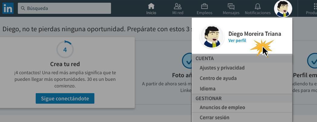 Haz clic en el botón Yo, y luego en Ver perfil.