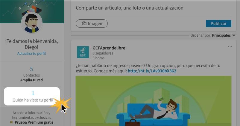 En la parte izquierda de la pantalla, haz clic sobre la opción Quién ha visto tu perfil.