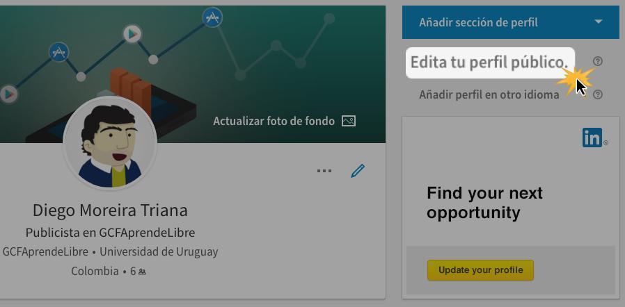 Haz clic en la parte derecha de la pantalla en la opción Edita tu perfil público.