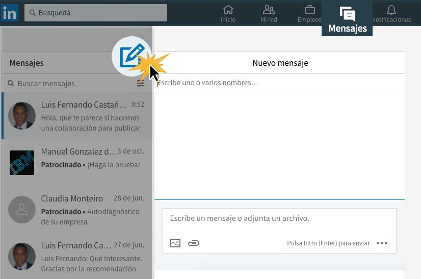 Haz clic en la pestaña Mensajes, y selecciona el ícono Redactar mensaje.
