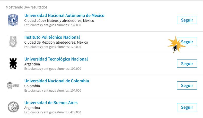 Haz clic en Seguir para estar al tanto de las publicaciones de la universidad.
