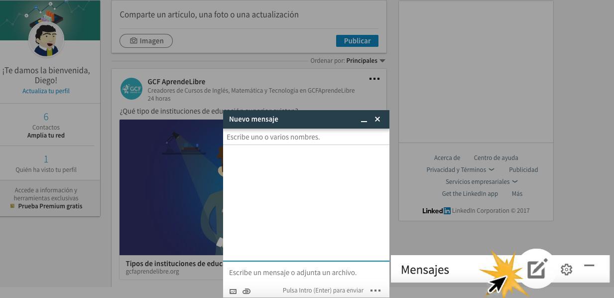 Ubica la opción de mensajes en la parte inferior derecha de la pantalla.