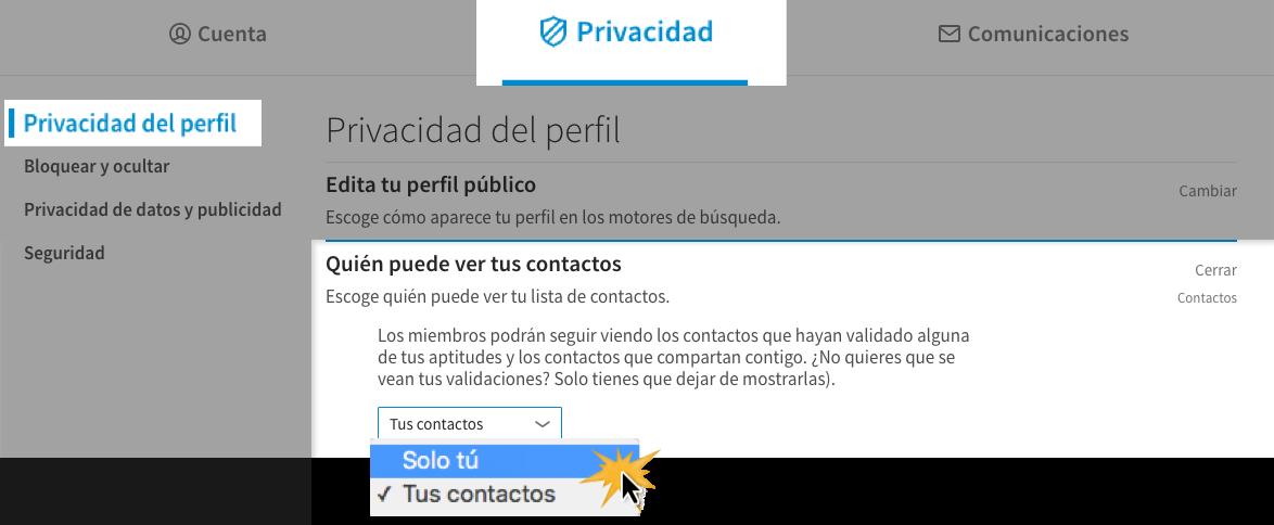 Haz clic en Quién puede ver tus contactos para modificar esta opción.
