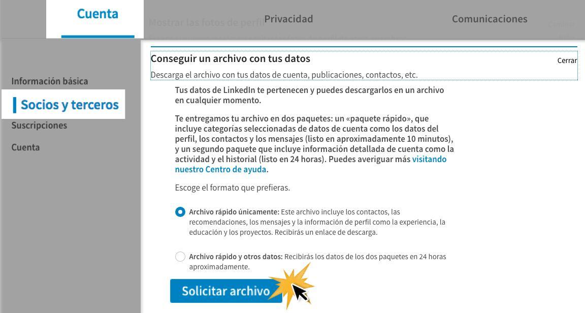 Haz clic en Solicitar archivo.