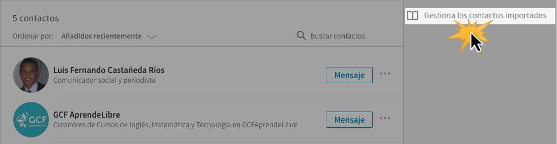 Haz clic en la opción Gestiona los contactos importados