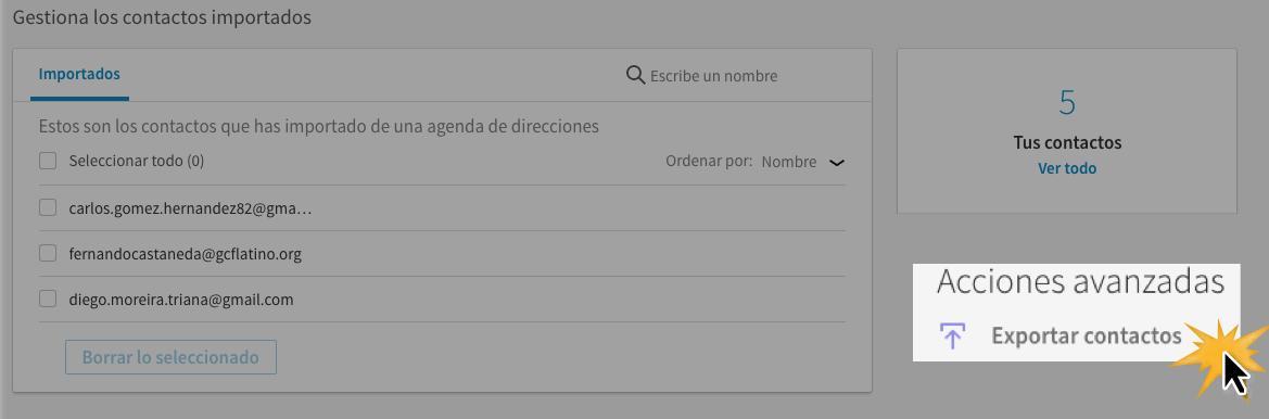 Haz clic en la opción Exportar contactos.