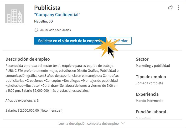 Haz clic en Solicitar en el sitio web de la empresa