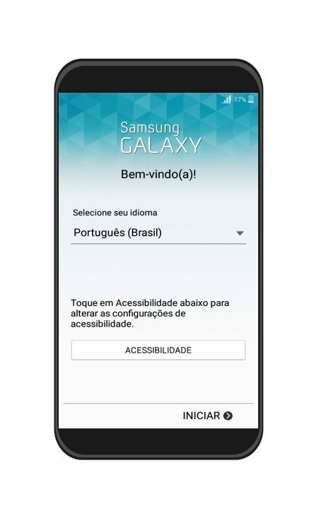 Imagem do primeiro passo de como fazer a configuração inicial no Android.