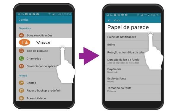 Passos 1 e 2 para mudar a papel de parede de um aparelho Android.