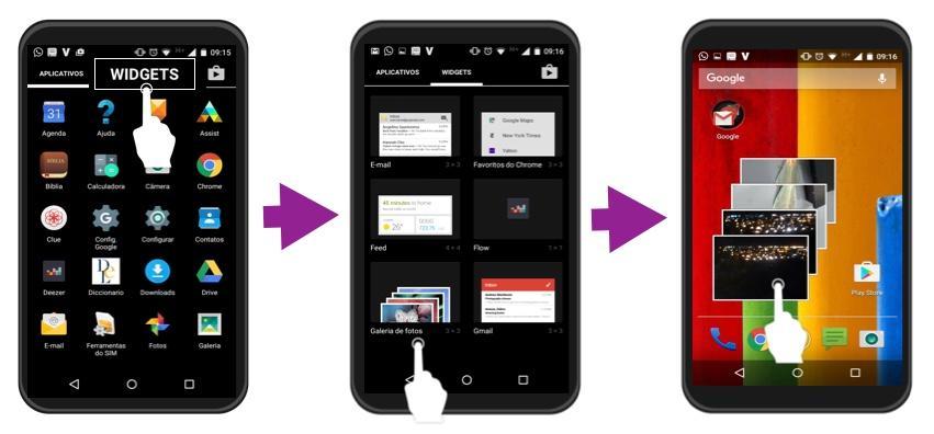 Passos 2, 3 e 4 de como usar o Widgets.