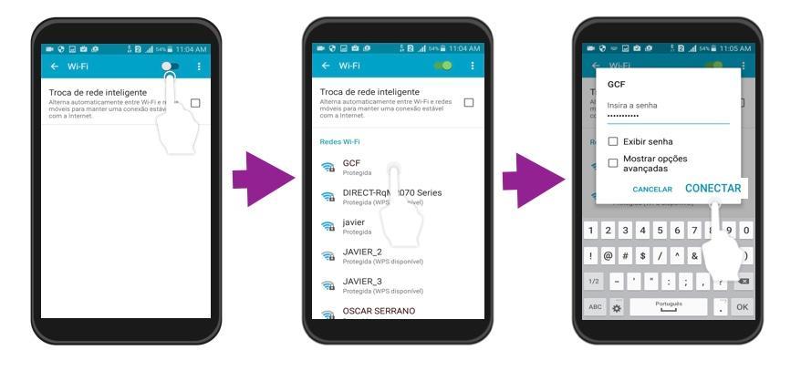 Imagem exemplo dos passos 3 e 4 para conectar um Android a uma red Wi-Fi.