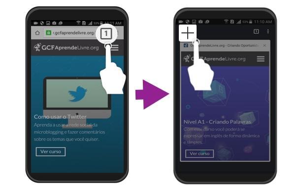 Exemplo de como abrir uma nova guia do Chrome no Android.