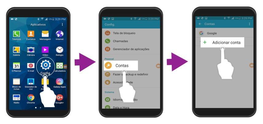 Exemplo dos primeiros três passos para iniciar sessão com uma conta Google no Android.