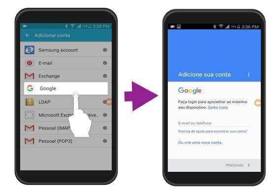 Imagem exemplo dos passos 4 e 5 para iniciar sessão com uma conta Google no Android.