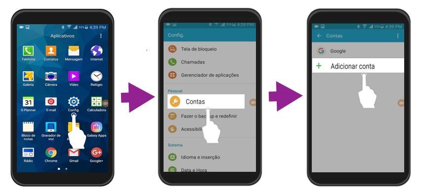 Primeiros três passos para adicionar uma conta de e-mail ao Android.