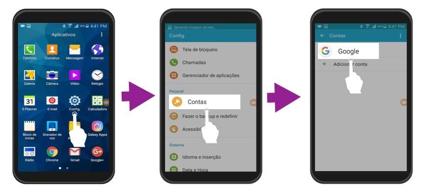 3 primeiros passos para eliminar uma conta em um telefone com o SO Android.