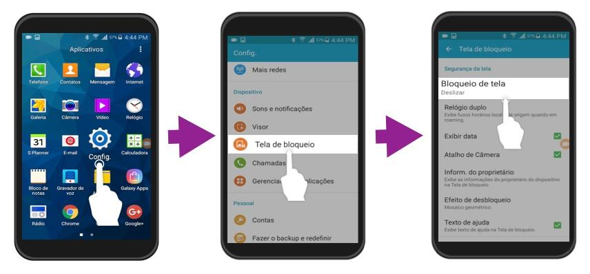 Imagem exemplo dos primeiros três passos para bloquear uma tela no Android.